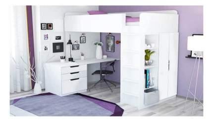 Кровать-чердак Polini Simple с письменным столом и шкафом, белый