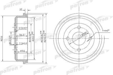 Барабан тормозной PATRON PDR1533