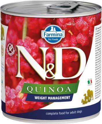 Влажный корм для собак Farmina N&D Quinoa, контроль веса, ягненок, 285г