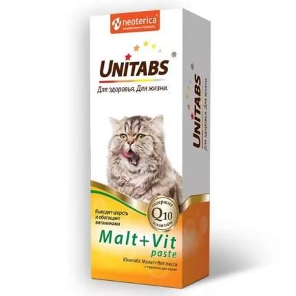 Паста для выведения шерсти для кошек Unitabs Malt+Vit, с таурином, 120 мл