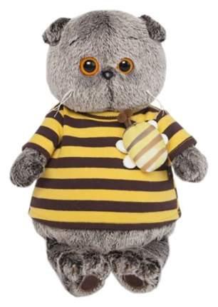 Мягкая игрушка BudiBasa Басик в полосатой футболке с пчелой 19 см