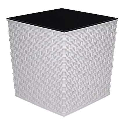Prosperplast Кашпо с контейнером Ротанг квадрат, 26,5 см белый