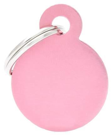Адресник My Family Basic алюминиевый круглый для кошек и собак (4 см, Розовый)