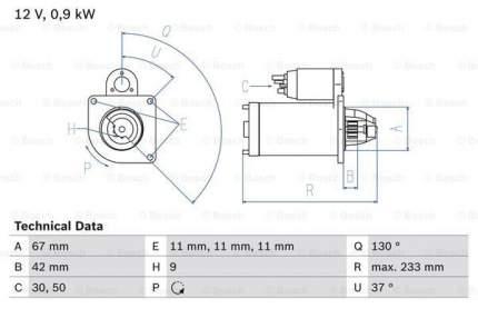 Стартер Bosch 0 986 019 030