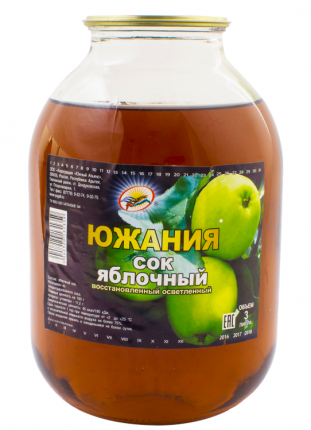 Сок яблочный Южания восстановленный осветленный 3 л
