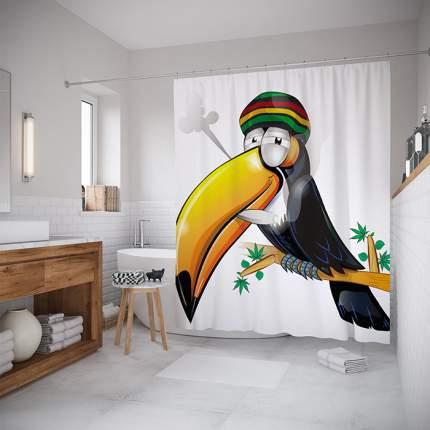 Шторы для ванной JoyArty «Тукан-растаман» 180x200 см
