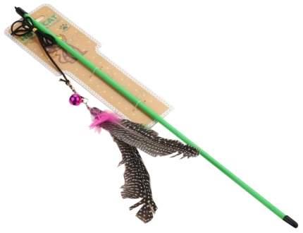 Игрушка для кошек Homecat Дразнилка удочка с перьями с колокольчиком, 46 см