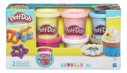 Пластилин play-doh набор из 6 баночек с конфетти b3423