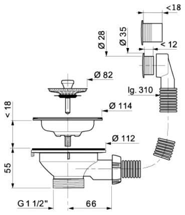 Выпуск Wirquin Чаша D90 мм из нержавеющей сталис круглым переливом