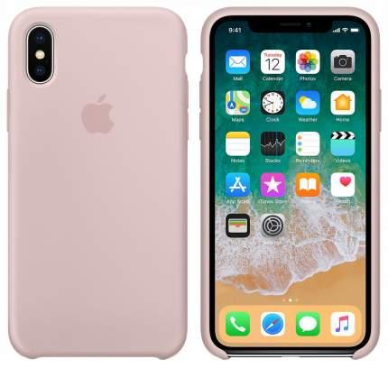 Чехол Apple Leather Case Pink Sand MQT62ZM/A для iPhone X
