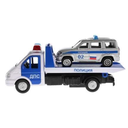 Набор из 2-х машин Технопарк металл, Газель эвакуатор 12,5 см+ УАЗ патриот 7,5 см