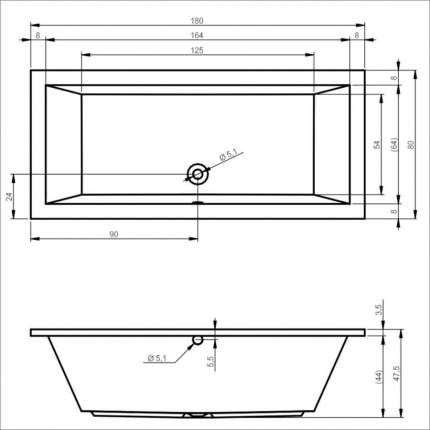 Акриловая ванна Riho Lusso 180х90 без гидромассажа