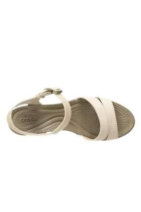 Шлепанцы женские Crocs Leigh II ankle strap wedge W-1 бежевые 38.5 RU