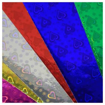 Набор цветной голографической бумаги Fancy Creative A4, самоклеющейся, 6 цветов, 6 листов