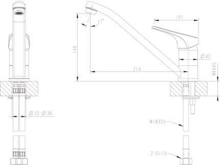 Смеситель для кухонной мойки BRAVAT F748162C-1