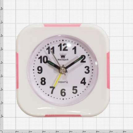 Часы будильник настольные квадратные белые с розовыми вставками 4501061