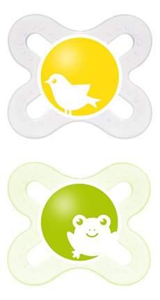 Набор детских пустышек MAM Start прозрачная и светло-зеленая (птенец и лягушонок)