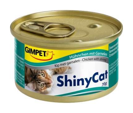 Консервы для кошек GimPet ShinyCat, цыпленок, морепродукты, 70г