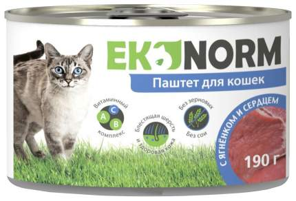 Консервы для кошек Ekonorm, ягненок и сердце, 190г