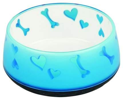 Одинарная миска для кошек и собак TRIXIE, пластик, резина, белый, голубой, 0.3 л