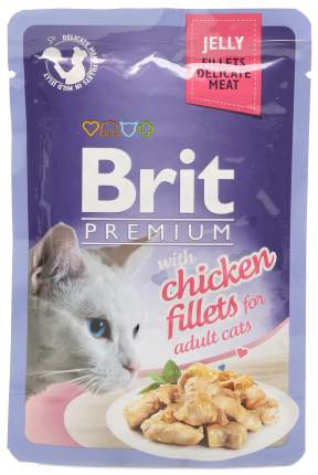 Влажный корм для кошек Brit Premium, в желе,курица, 24шт, 85г