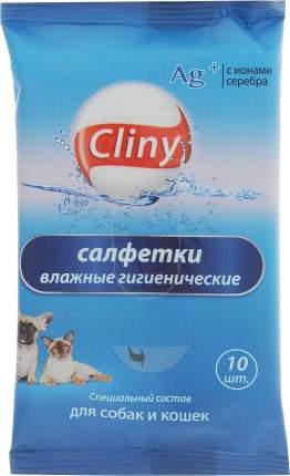 Влажные салфетки для кошек и собак Cliny, гигиенические, 10шт.