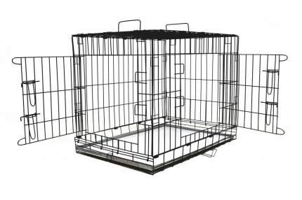 Клетка для собак ROKLET №5, для средних пород, складная, 2 двери, черная, 91х61х71 см