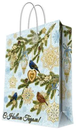 "Пакет подарочный ""Зимние птицы"", 17,8х22,9х9,8 см"