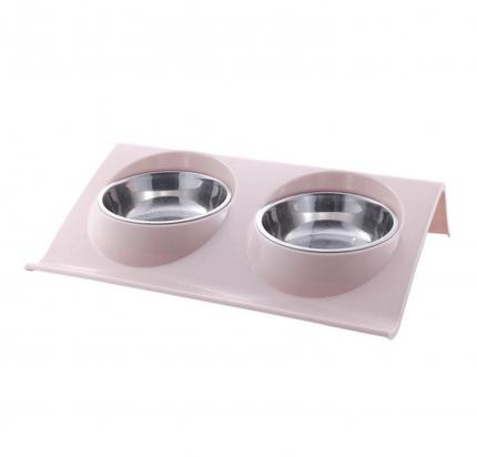Двойная миска для домашних животных Nicovaer Смарт, розовая, 37,5х25х7,5 см