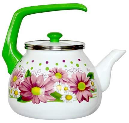 Чайник для плиты Interos Розовые герберы 3,0л эмалированный с кр.