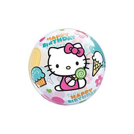 """Шар полимерный 22"""" BUBBLE """"С днём рождения!"""", Hello Kitty, прозрачный Альбатрос"""