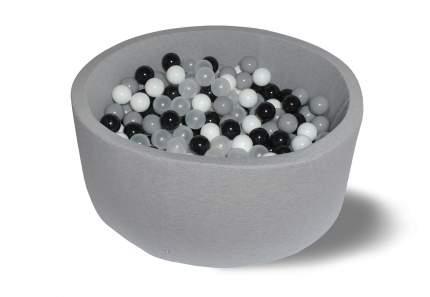 Сухой бассейн Морская пена 40см, с 200 шарами: белый, черный, серый, прозрачный