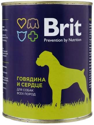 Консервы для собак Brit, говядина и сердце, 850г