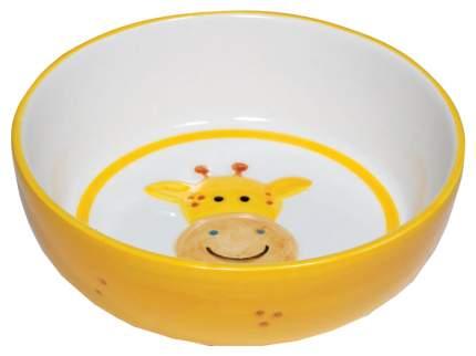 Одинарная миска для кошек и собак Triol, керамика, белый, оранжевый, 0.3 л