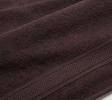 Полотенце махровое с бордюром (коричневое) 40х70