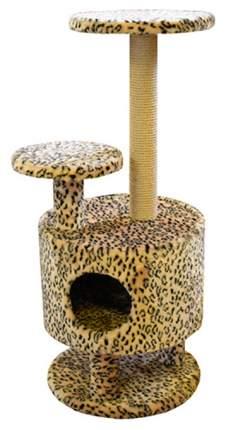 Комплекс для кошек Пушок Круглый со ступенькой на ножках Бежевый леопард
