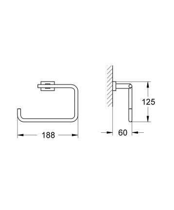 Кольцо для полотенца GROHE Essentials Cube, хром