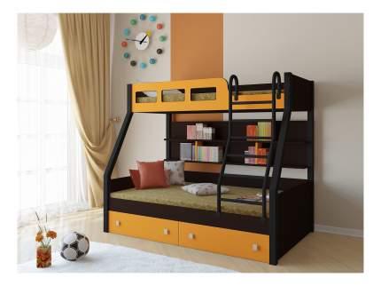 Двухъярусная кровать РВ мебель Рио каркас венге/черный оранжевая