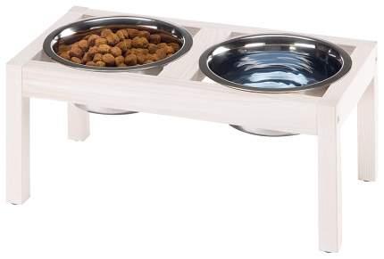 Двойная миска для кошек и собак Ferplast, дерево, сталь, белый, серебристый, 1.7 л
