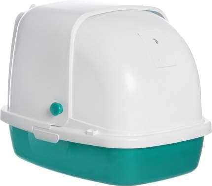 Туалет для кошек HOMECAT, прямоугольный, зеленый, белый, 53х39х48 см