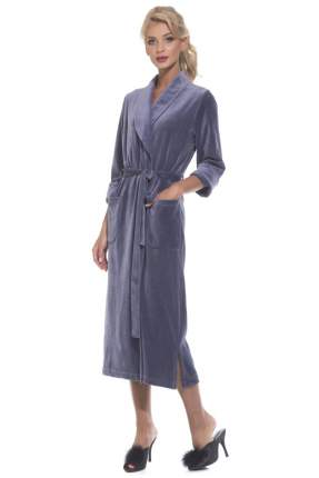 Женский удлиненный велюровый халат EvaTeks 383, дымчато-синий, 46-48