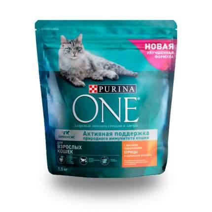 Сухой корм для кошек Purina One, для домашних, курица, цельные злаки, 1,5кг