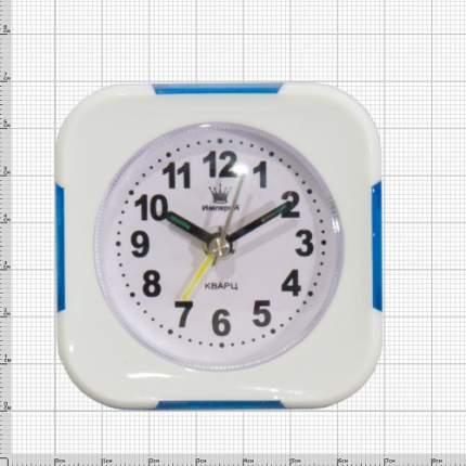 Часы будильник настольные квадратные белые с синими вставками 4501062