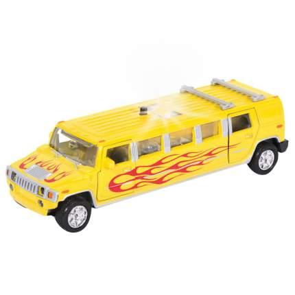 Машина Технопарк инерционная, металлическая лимузин желтое пламя, со светом и звуком