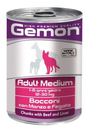 Консервы для собак Gemon Medium, кусочки говядины и печени, 24шт, 415г