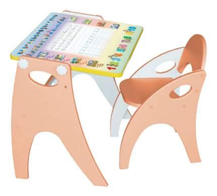 Комплект детской мебели ИНТЕХПРОЕКТ Парта-мольберт и стульчик Буквы-Цифры персиковый