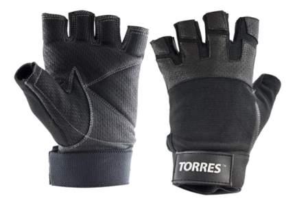 Перчатки для тяжелой атлетики и фитнеса Torres PL6051, черные, L