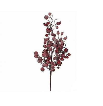 Ветка Ягодное Изобилие 64 см с красными заснеженными ягодами 83011