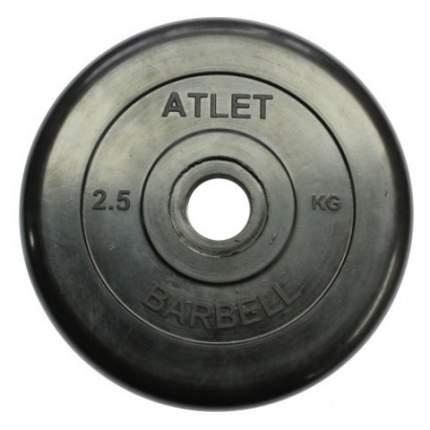 Блин обрезиненный MB Barbell Atlet 2,5 кг сталь 26 мм черный
