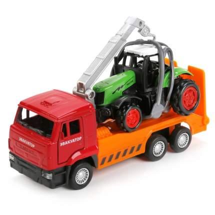 Набор из 2-х моделей Технопарк металл, машина камаз эвак, 12,5 см+трактор 7,5 см
